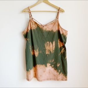 soft stretchy olive green hand-dyed strappy tank
